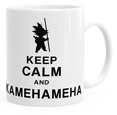 MoonWorks Son Goku - Taza con texto 'Keep Calm and Kamehameha Dragon Ball', color blanco,...