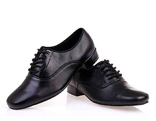 BeiBestCoat Men's Classic Lace-up Leather Dance Shoes Modern Dancing Shoes, Black (7.5 D (M) US / 40)