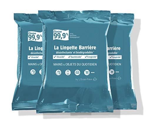 L'Essuie-Fraise - Confezione da 3 x 12 = 36 salviette disinfettanti Virucidal portatili, efficaci su mani, oggetti (smartphone, tastiere, ecc.) e superfici - Standard EN14476, made in France
