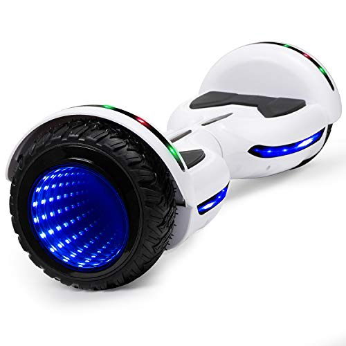 CBD Flash Hoverboard, All Terrain Off Road Two-Wheel 6.5 inch Self Balancing Hoverboard with Bluetooth and LED Lights for Kids Adults, White