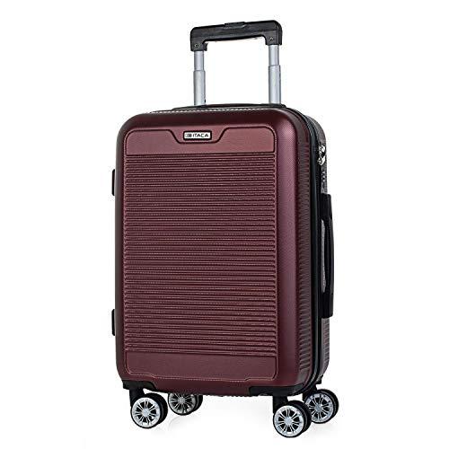 ITACA - Maleta de Viaje Rígida 4 Ruedas Trolley 55 cm abs Texturizado. Equipaje de Mano. Dura y Ligera. Mango Asas Candado. Vuelos Low Cost Ryanair. T72050, Color Rojo