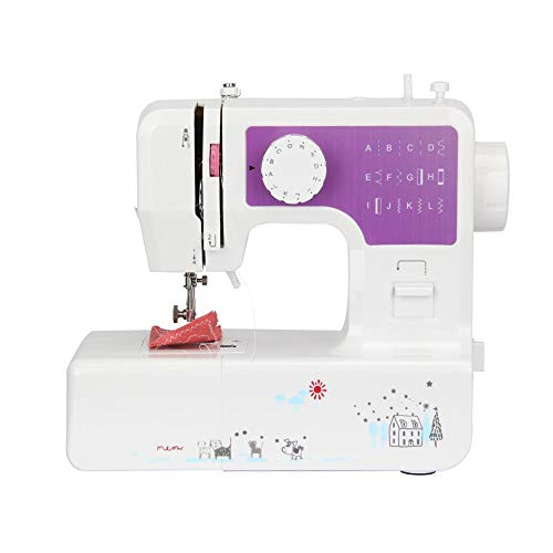 YOUXIN Mini Electric Sewing Machine portable, Household Multi-Function Crafting Mending Sewing Machines for Adult Beginners (12 Stitches, 2 Speeds, Foot Pedal, LED Sewing Light), Purple