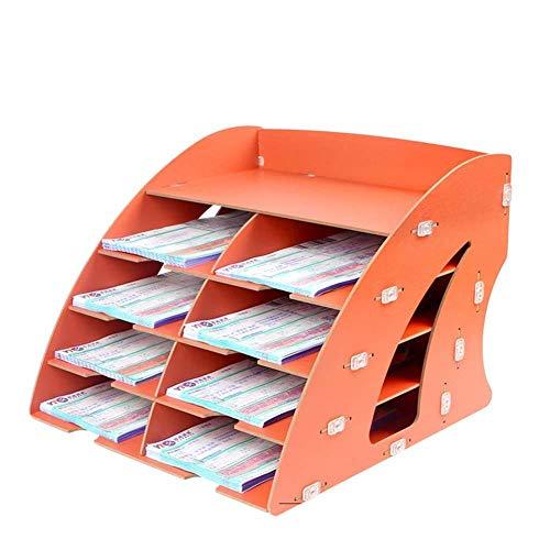 WJYLM File Organizer/Portadocumenti, Office Desktop Organizer, 9 strati di scrivania in legno fai-da-te ordinata Sezioni di supporto per armadietti fissi per casa, scuola, arancione