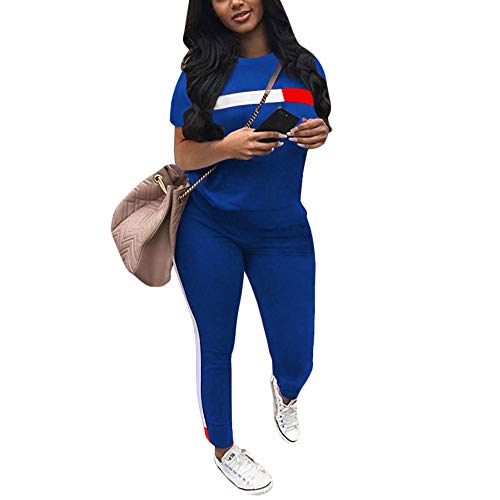 Workout Sets for Women 2 Piece Jogging Sweat Suits - Striped Short Sleeve Pullover Sweatshirt + Long Sweatpants Tracksuit Set RoyalBlue Large