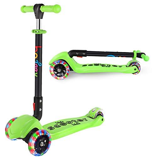 BELEEV Roller Kinder für Kinder 3 Räder Roller für Kleinkinder, Mädchen & Jungen, 4 Höhenverstellbar mit PU LED Leuchträdern, Faltbar Kick Scooter ab 3-12 Jahre (Grün)