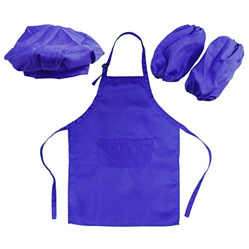 BESTONZON Juego de Disfraces de Cocina con Delantal Gorro Mangas de Cocina Traje de Cocina para Niños (Azul)