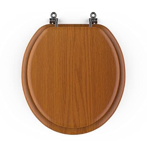 Toilet Seat Round Molded Wood,Chrome Hinge Seat, Firm (Laminated Wood Seat)