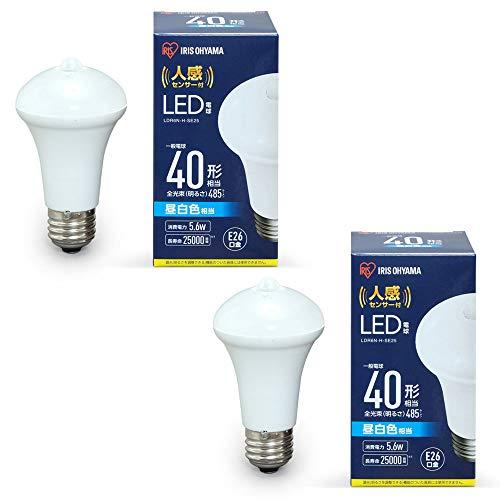 アイリスオーヤマ LED電球 人感センサー付 2個セット E26 40形相当 昼白色相当 LDR6N-H-SE25