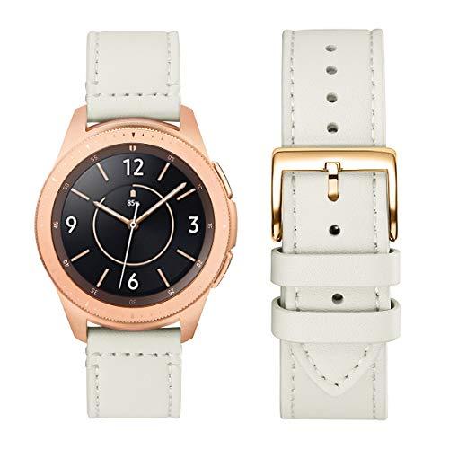 WFEAGL Kompatibel mit Samsung Galaxy Watch Armband 42mm/Gear S2 Classic/Gear Sport/Huawei Watch 2/Huawei Watch GT Elegant,20mm Leder Ersatzband(20mm,ElfenbeiWeiße/Gloden)