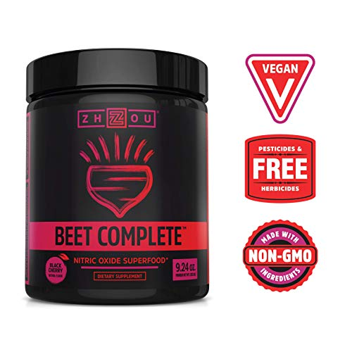 Zhou Nutrition Beet Complete, Nitric Oxide Superfood Powder Preworkout Formulated to Boost Performance & Heart Health - 9.24 Oz Beetroot Powder with Black Cherry Flavor
