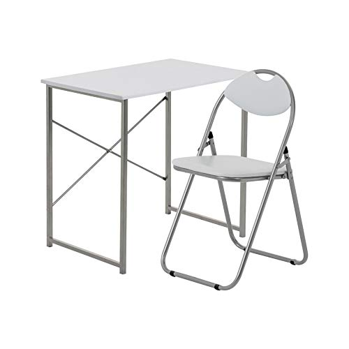 Harbour Housewares 2 Piece Computer Desk and Chair Set - Small Home Office Workstation for PC Laptop Study - Wooden Top - White/White