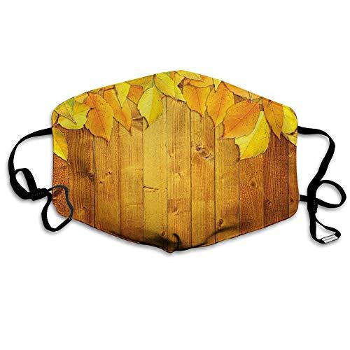 TABUE Gezicht Guard Mond Cover Kleurrijke Levendige Seizoensgebonden Bladeren Op De Houten Planken Natuurlijke Ontwerp Rustiek