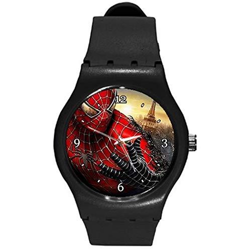 Spiderman (gros plan) sur un bracelet de montre en plastique marron, idéal pour les garçons ou les hommes.