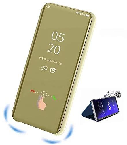 XJZ kompatibel mit Oppo Realme 5/Realme 5S Smart Hülle(2019)+3D Panzerglas/Schutzhülle Premium Mirror Flip ständer Handyhülle Ultra Dünn Hülle Tasche Stoßstange für Oppo Realme 5-Gold