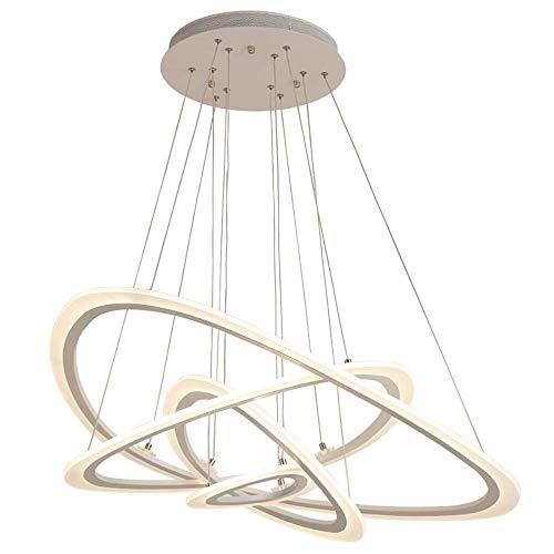 JYDNBGLS Modern Pendant Light 4 Ring LED Pendant Lights, Modern Ellipse Shape Creative Ceiling Hanging Lighting, Aluminum and Acrylic Chandelier, Adjustable Height - White Light Home Furnishing