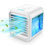Personal Air Conditioner, Portable Air Conditioners with Icebox, Mini Air Conditioner with 3 Speeds, Table Fan for Room & Office, Air Humidifier, Air Cooler with USB Cable, Quiet, 7-Color Night Light
