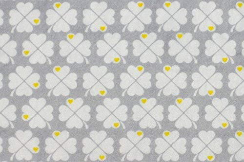 kullaloo Microfaser-Plüsch Stoff Shorty als Meterware im exklusiven byGraziela Design - 1,5mm Florlänge, EN71-3 & EN 71-9 Zertifiziert – 0,5m (Kleeblatt grau)
