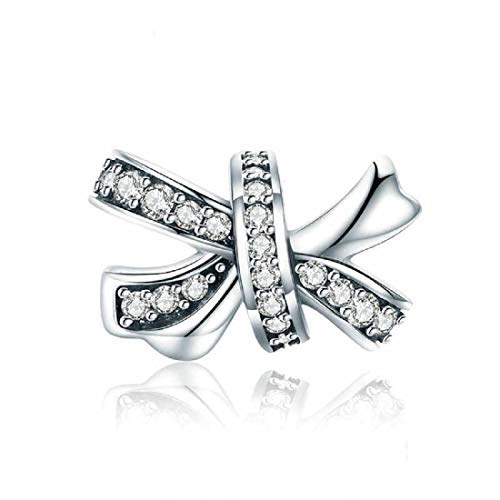 FeatherWish 925 Sterling Silver Love Bow Knot Bead Charm With Clear Cubic Zirconia Compatible With Pandora Bracelet (Bow Slider Bead)
