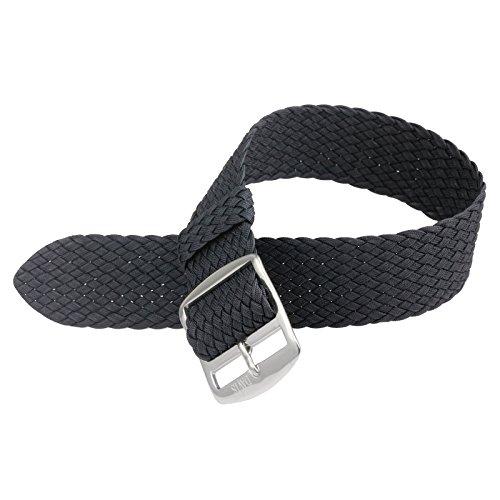 20mm Cinturino Orologio Perlon Nylon Nero Alta Qualità - Fibbia Acciaio