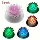 pearlstar Solar Floating Pool Lights Outdoor Pond Decoration Lighting Waterproof Color Changing LED Garden Lotus Lamp for Swimming Pool, Lily Pond, Yard (Lotus-2pack)