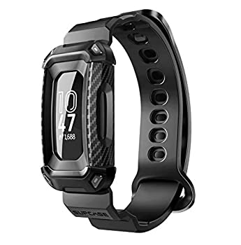SUPCASE Unicorn Beetle Pro Series Design for Fitbit Inspire 2 Replacement Bands with Built-in Rugged Protective Case  Black