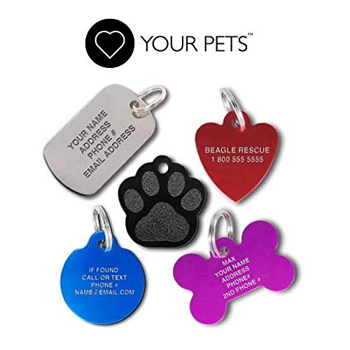 Love Your Pets Pet ID Tags - Custom Engraved Stainless Steel - Personalized! Made in The USA - 48 Choices - Stainless Steel, Brass, Aluminum Pet Tags, Dog Tags, Cat Tags