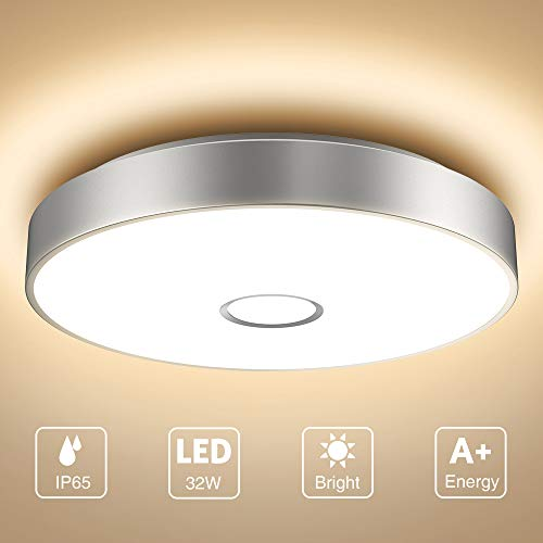 Onforu Deckenleuchte LED 32W, IP65 Wasserdicht Deckenlampe Badezimmer, Superhelle 2800lm Küchenlampe, 2700K Warmweiß Badezimmerlampe Lampe für Schlafzimmer, Bad,Küche, Wohnzimmer.