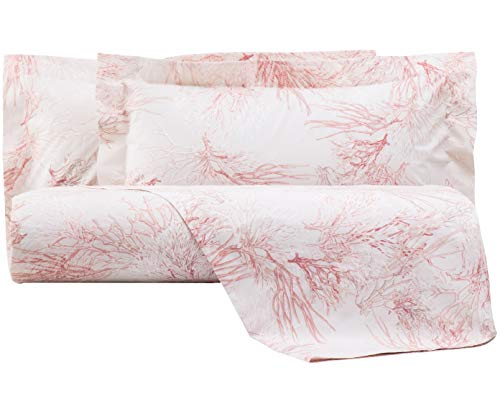 Mirabello Bettwäsche-Set für Doppelbett, feine Perkal-Baumwolle, Effekt Tagesdecke mit Doppelrand, Art.Atollo (Rosa 03M)
