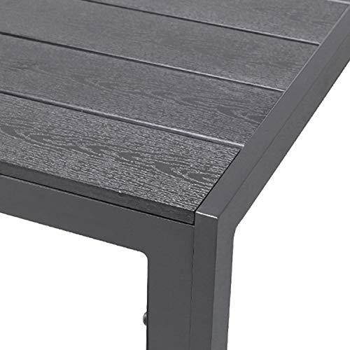 FineHome Schöner Polywood Aluminium Gartentisch anthrazit Esstisch Gartenmöbel Tisch Holzimitat wetterfest 160x90x74cm