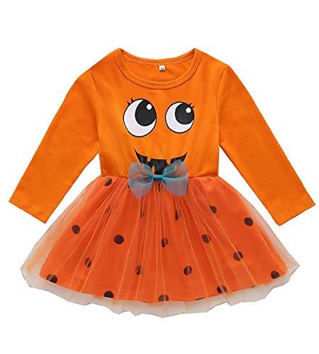Toddler Girls Halloween Playwear Dress Long Sleeve Pumpkin Dot Cute Party Halloween Pumpkin Tutu Shirt Dresses Outfit (18-24 Months) Orange
