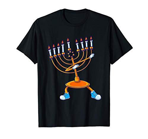 Dabbing Menorah Hanukkah Dancing Chanukah Kids Girls Boys T-Shirt