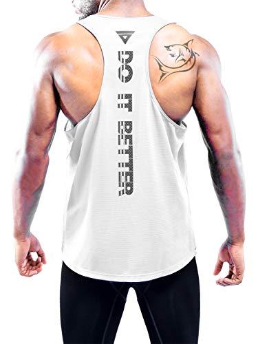 Boyzn Men's Tank Tops Dry Fit Y-Back Gym Muscle Tank Mesh Sleeveless Top Fitness Workout Gym Tank Top White-L
