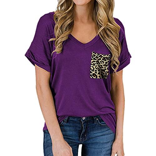 Camiseta de Color Liso con Bolsillo para Mujer Camiseta de Bolsillo con Estampado de Leopardo de Manga Corta Camiseta con Cuello en V Dobladillo Largo Casuales de Verano Camiseta Blusa de Manga Corta