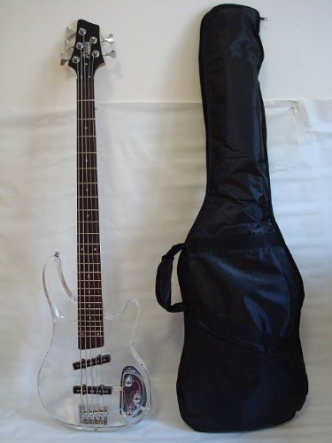 Ktone 5 String Clear Body Lucite Electric Bass Guitar with Free Gig Bag - Brand New