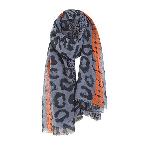 UONQD Clearance! Women Winter Leopard Tassel Cotton Linen Color Block Scarf Shawl Wrap Cover (OneSize,Blue)