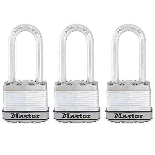 MASTER LOCK Candado Alta Seguridad [Llaves] [Acero Laminado] [Exterior] [Arco M] M1EURTRILH - Ideal para Portales, Garages, Sótanos