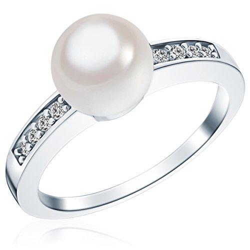 Rafaela Donata Damen-Ring 925 Sterling Silber Südsee-Muschelkernperle weiß Zirkonia weiss - Silberring mit Perle und Zirkonia farblos Perlenring 60800076