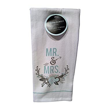 Cynthia Rowley Wedding Kitchen Towel Sets (100% Cotton) Linen Gifts (Mr. & Mrs. Teal Flowers)
