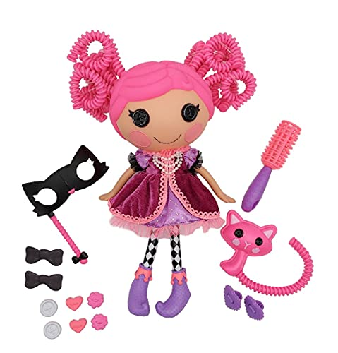Lalaloopsy Silly Hair Doll - Confetti Carnivale with Pet Cat, 13' Masquerade Ball Party Theme Hair Styling Doll with Pink Hair & 11 Accessories in Reusable Salon Package playset, for Ages 3-103