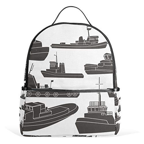 Tugboat Clipart Mochila Escolar de Lona de Gran Capacidad, Estilo Casual, para niños y niñas