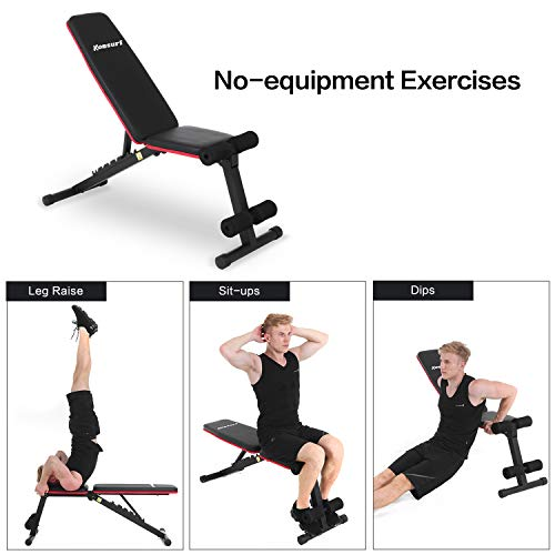 Komsurf Adjustable Weight Bench Press, Foldable Workout Bench for Home Gym, Full Body Workout Strength Training, Exercise Equipment Body Gym System