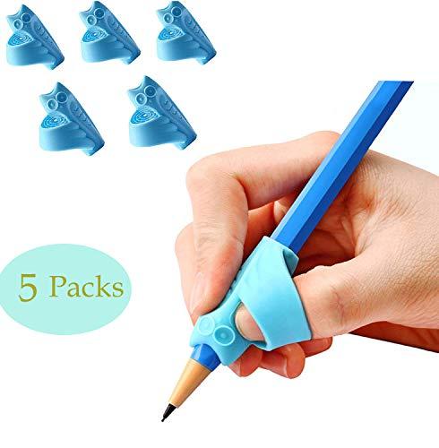 UWinsic Blau Bleistift Griffe, 5 Stück Silikon Ergonomische Schreibhilfe für Stift kinder Erwachsene, Stifthalter Grip kind Finger Griffe Halter Handschrift Werkzeug für Linkshänder und Rechtshänder