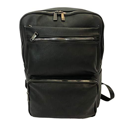 Mochila para hombre con puerto de carga USB, color negro, aspecto elegante con mochila para portátil de 15,6 pulgadas, piel sintética
