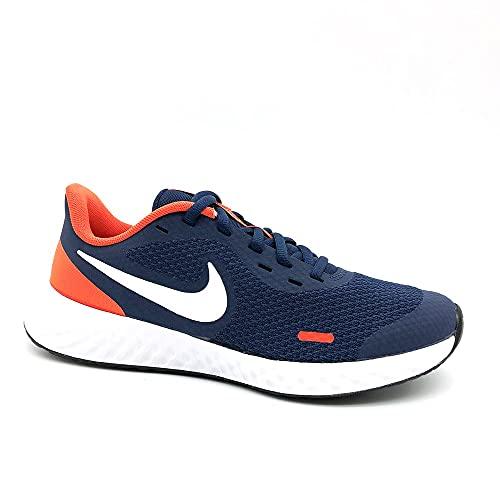 Nike Revolution 5, Scarpe da Ginnastica, Midnight Navy/White-Orange, 39 EU