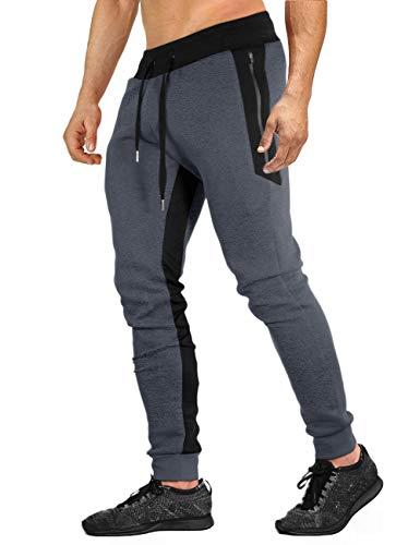 Calça de moletom masculina EKLENTSON de algodão casual para corrida, corrida, treino, Dark Gray, 34