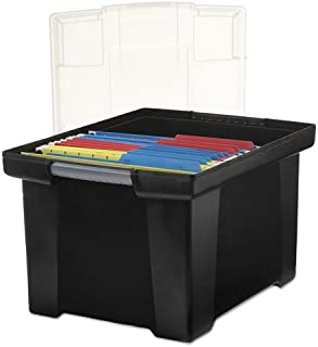 Plastic File Tote Storage Box, Letter/Legal, Snap-On Lid, Black, Sold as 1 Each