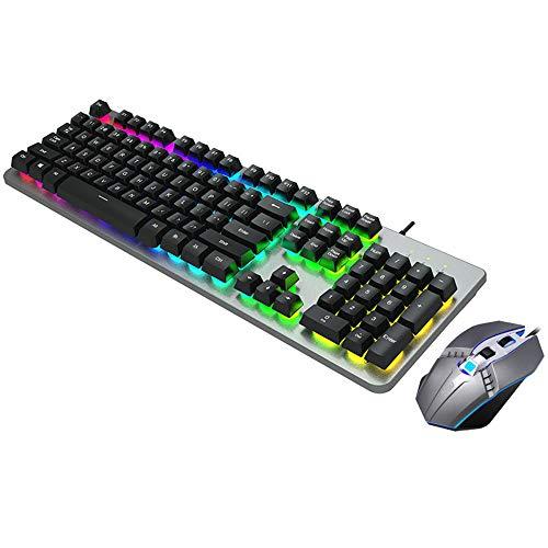 BXWDAN Tastatur- und Mauskombination, E-Sports-Barspiel-Hintergrundbeleuchtung USB-schwimmendes kabelgebundenes Tastatur- und Mausset