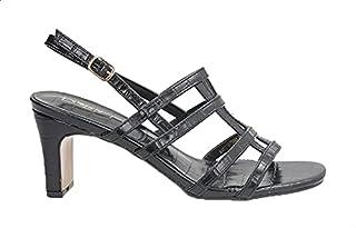 Dejavu Crocodile Embossed Faux Leather Slingback Block-Heel Sandals for Women