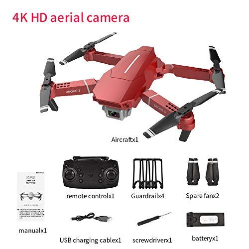SZMYLED F98 Drone,con videocamera ad alta definizione,WiFi FPV,Pieghevole,mantenimento dell'altitudine,Tempo di volo 20 minuti, modalità senza testa,adatto per i principianti Rosso 4K