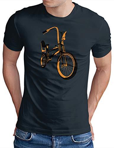 OM3 Bonanza Fahrrad T-Shirt   Herren   Retro Vintage Rad Bonanzarad II   Navy, XXL